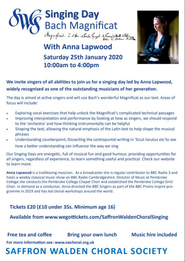 Singing Day with Anna Lapwood Poster