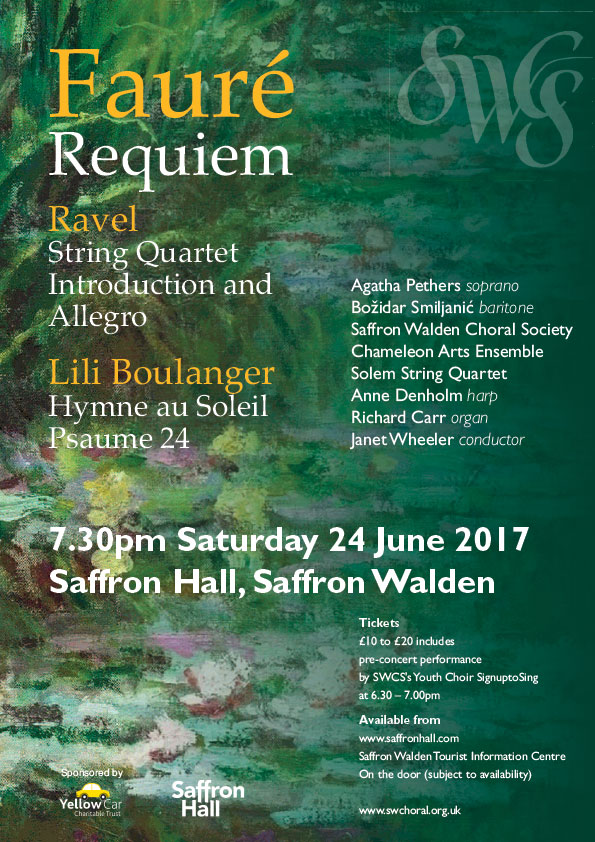 Fauré: Requiem, Ravel: String Quartet, Introduction & Allegro, Lili Boulanger: Hymne au Soleil, Psaume 24 Poster