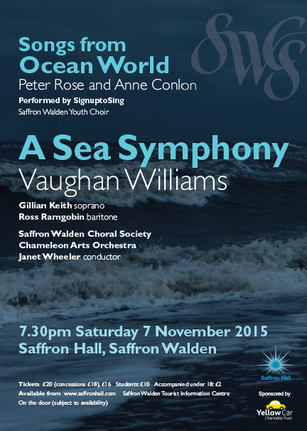 Peter Rose and Anne Conlon - Songs from Ocean World Vaughan Williams - A Sea Symphony Poster