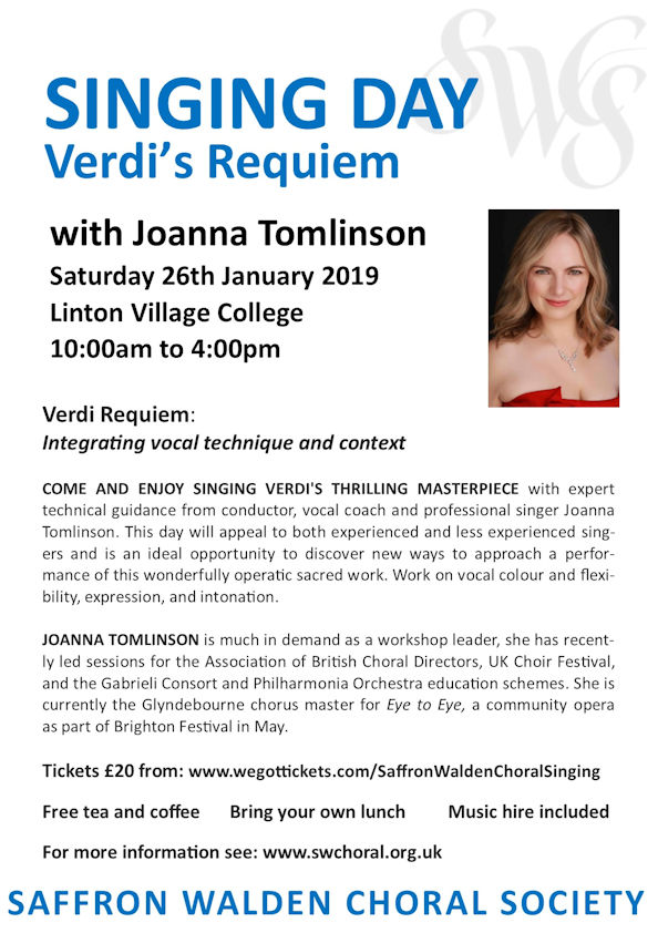 SWCS Singing Day – Verdi's Requiem with  Joanna Tomlinson Poster